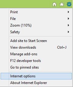 Opsi Internet pada menu Alat