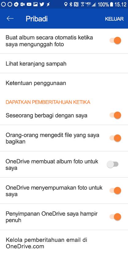 Masuk ke pengaturan aplikasi OneDrive untuk Android Anda untuk mengatur pengaturan pemberitahuan.