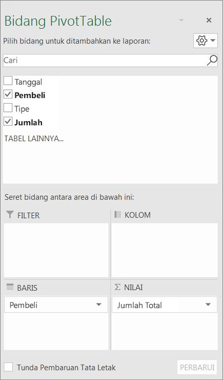 Daftar Bidang memperlihatkan bagian bidang dan area bidang