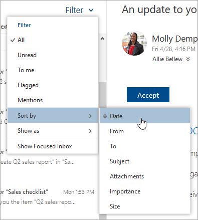 Cuplikan layar menu Filter dengan Urutkan menurut dipilih