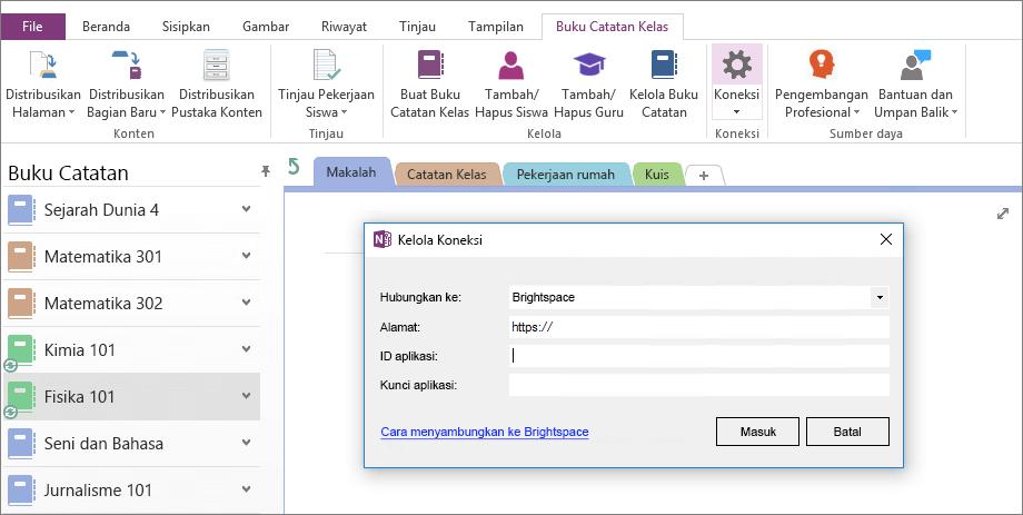 Cuplikan layar koneksi dialog buku catatan kelas OneNote add-in dengan kebijakan grup yang tidak dikonfigurasi.