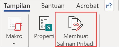 Memperlihatkan tombol Buat Salinan Pribadi di dokumen