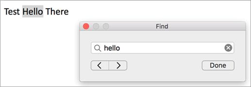 Memperlihatkan hasil pencarian dalam kotak dialog Temukan dan contoh pertama istilah pencarian disorot dalam Outlook item