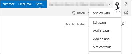 Tombol Pengaturan SharePoint 2013 dengan menu turun bawah