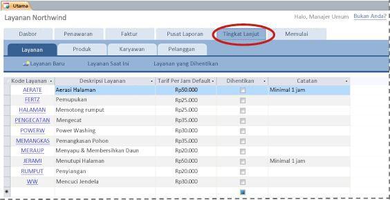 Tab Tingkat Lanjut dari templat database Layanan