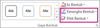 Grup Gaya Bentuk pada tab Format Alat Menggambar