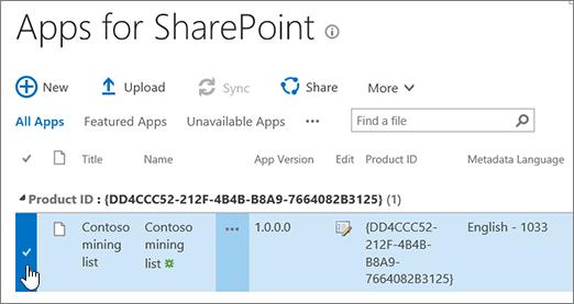 Aplikasi untuk SharePoint Katalog aplikasi dengan aplikasi yang dipilih