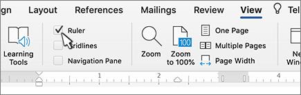 Pengaturan tab > tampilan penggaris