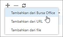 Cuplikan layar opsi yang tersedia di toolbar Kelola add-in, termasuk tambahkan, hapus, dan refresh. Pilihan di Tambahkan diperlihatkan, yang menyertakan Tambahkan dari Bursa Office, Tambahkan dari URL, dan Tambahkan dari file.
