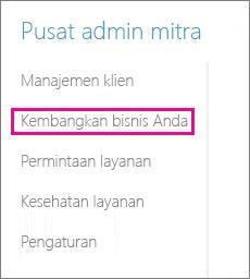 Di pusat admin pilih Mitra pilih Bangun bisnis Anda.