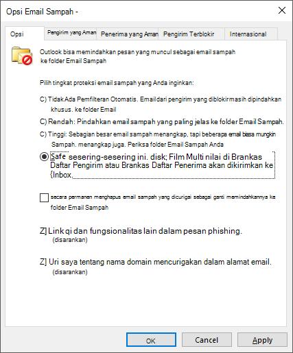 Opsi Email Sampah