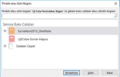 Dialog Pindahkan atau Salin Bagian di OneNote untuk Windows 2016