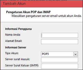 Masukkan informasi server POP atau IMAP
