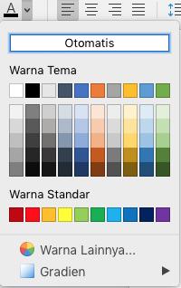 Menu pemilihan warna font Word untuk Mac