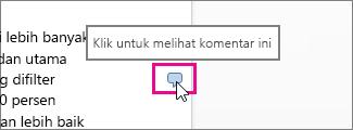 Klik untuk melihat komentar di Word Online