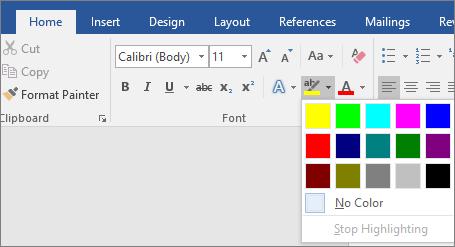 Opsi Warna Sorotan Teks diperlihatkan pada tab Beranda.