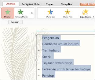 Pilih semua poin pada slide dan pilih efek animasi gerak
