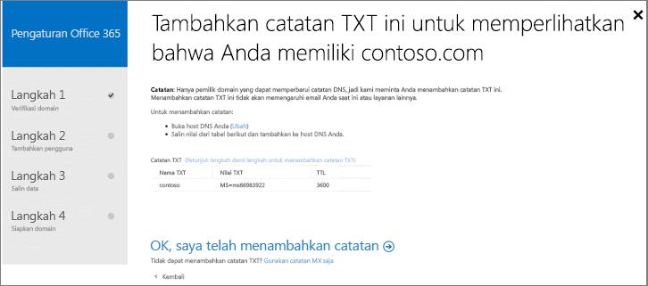 Tambahkan catatan TXT untuk memverifikasi bahwa Anda pemilik domain.