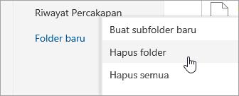 Sebuah cuplikan layar menu opsi Hapus folder.