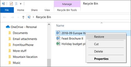 Menu klik kanan untuk memulihkan file yang dihapus dari keranjang sampah