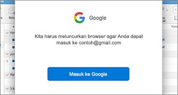 Kotak dialog dari Google yang meminta pengguna untuk masuk