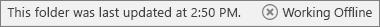 Bilah status Office menunjukkan bahwa sambungan Outlook terputus dari server emailnya