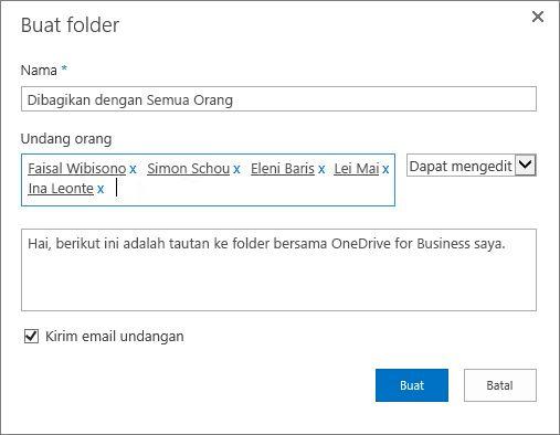Kotak dialog untuk mencantumkan alamat email orang yang ingin Anda bagikan folder OneDrive for Business.