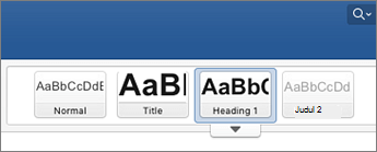 Cuplikan layar opsi gaya judul