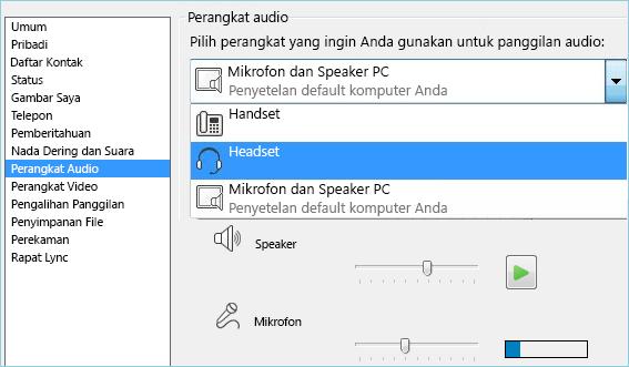 Cuplikan layar penyetelan audio