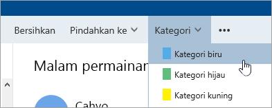 Cuplikan layar tombol Kategori