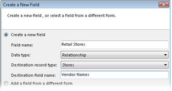 Membuat bidang hubungan baru dalam kotak dialog Buat Bidang Baru.