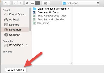 """Tampilan menu Buka di File pada """"Di Mac saya""""."""