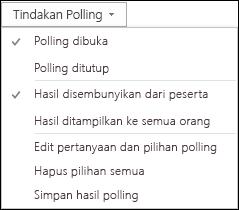 Cuplikan layar tindakan polling