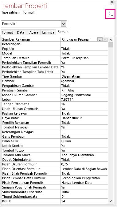 Cuplikan layar lembar properti Access tanpa pengurutan properti