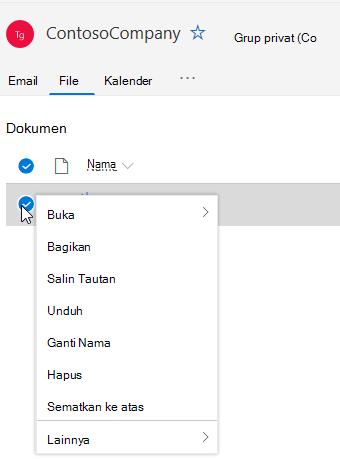 Memperlihatkan opsi Hapus dan ganti nama file