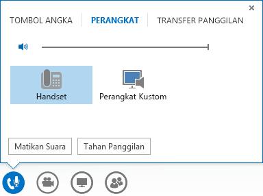 Cuplikan layar kontrol panggilan audio