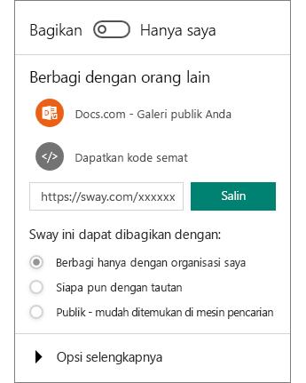 Cuplikan layar panel Berbagi Sway