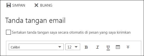 Pesan tanda tangan email Outlook di web