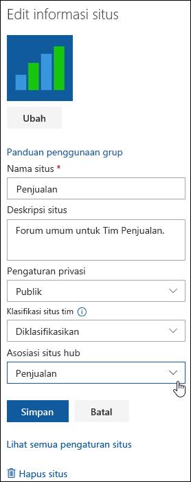 Mengaitkan situs SharePoint dengan situs hub