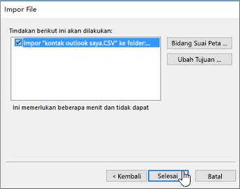 Ketika Anda mengimpor kontak Gmail ke kotak surat Office 365 Anda, klik tombol Selesai untuk memulai migrasi