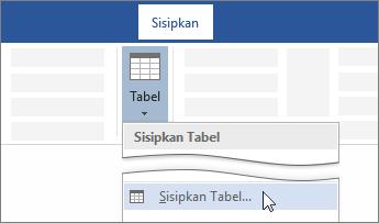 Opsi Sisipkan Tabel pada pita Word
