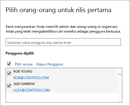 Menambahkan pengguna dalam program rilis Office 365