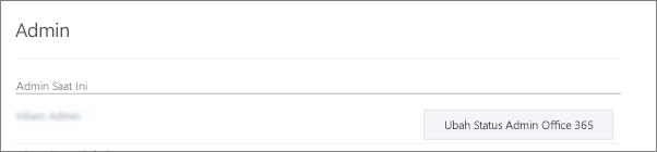 Cuplikan layar menampilkan akun Admin Terverifikasi yang disinkronkan sebagai Administrator Global di Office 365