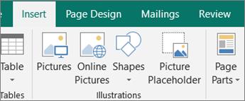 Klik sisipkan, dan kemudian klik tempat penampung gambar