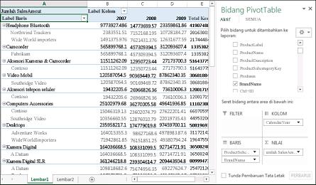 PivotTable memperlihatkan contoh data