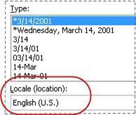 Kotak Lokal dipilih dalam kotak dialog Format Sel