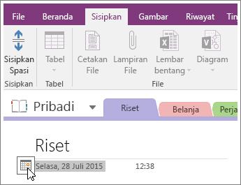 Cuplikan layar cara mengubah stempel tanggal halaman di OneNote 2016.