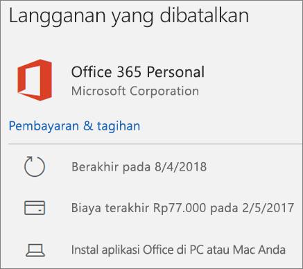 Memperlihatkan langganan Office 365 yang telah kedaluwarsa