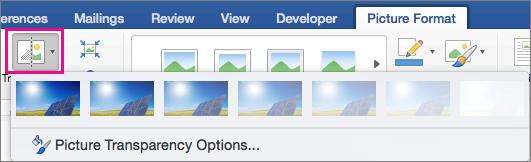 Pada tab Format gambar, transparansi disorot.