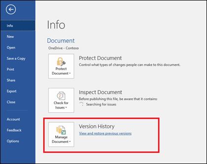 Tombol Kelola versi memungkinkan Anda memulihkan versi yang lebih lama dari dokumen Anda